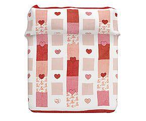 Copriletto matr. in cotone Itaca rosso - 255x255 cm