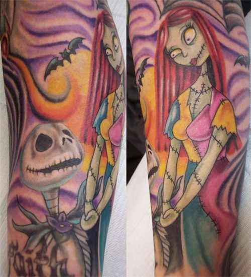 Jack skellington and sally matching tattoos