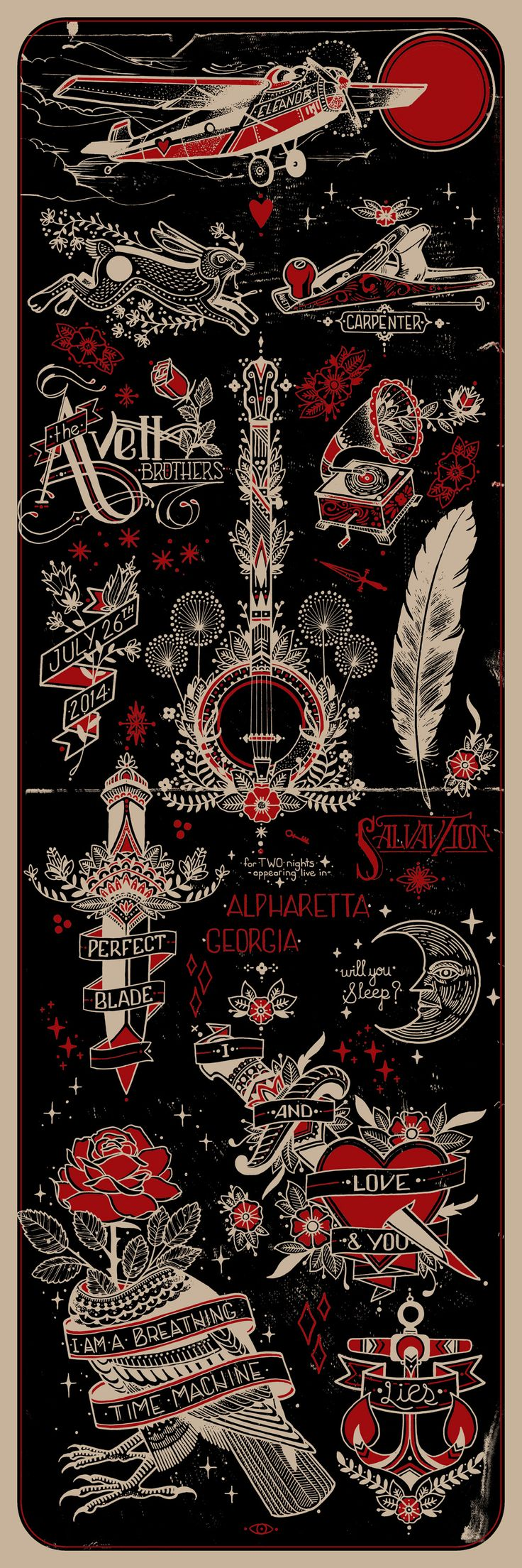 """Click Image to see Full Size  12"""" x 36"""" Limited Edition of 300 Screenprint (75 available online) Signed and numbered 2 Colors (1 color on back) French Kraft Paper *100% recycled and made in the USA using sustainable energy  For The Avett Brothers show on 7-26-14 in Alpharetta, GA at the Verizon  Amphitheater  I love the Avett Brothers, their music and the meaning that motivates it.  It inspires me to create, to share what I find meaningful, provocative, and  hopeful. I wanted to make a…"""