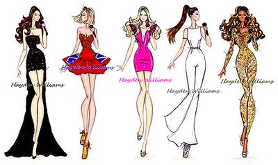 Olympics 2012 London: The Spice Girls by Hayden Williams: Spices Girls, Fashion Design, Fashion Art, Hayden Williams, Olympics 2012, Williams Fashion, 2012 London, Fashion Illustrations, Fashion Sketch
