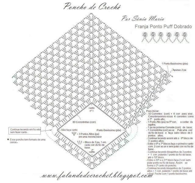 Häkeln Poncho - crochet , FALANDO DE CROCHET: PONCHO DE CROCHE                                                                                                                                                      Mais