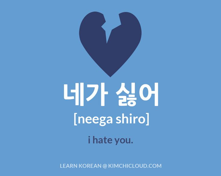 "To say ""I hate you"" in Korean, you say ""neega shiro"" (in Hangul: 네가 싫어 ), but to fully understand this word, you need to take a look at how it is used in context."