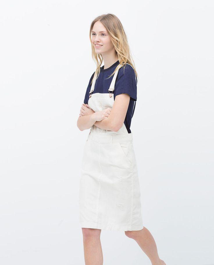 Image 1 of WHITE DENIM DUNGAREES from Zara