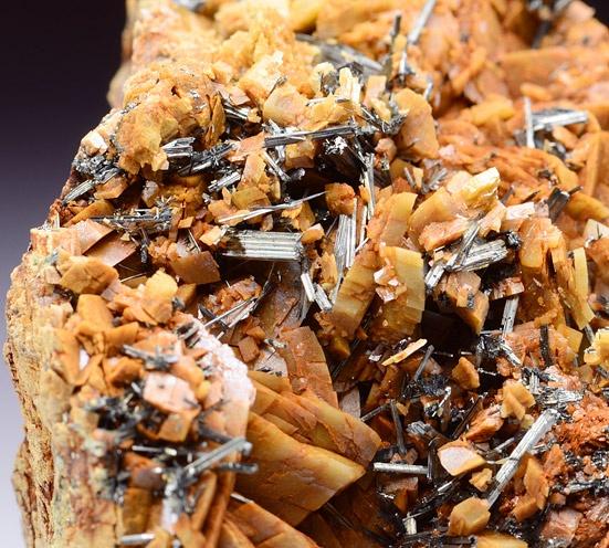 Intersecting acicular metallic Zinkenite crystals on Dolomite matrix / St. Pons, Barcellonette, France