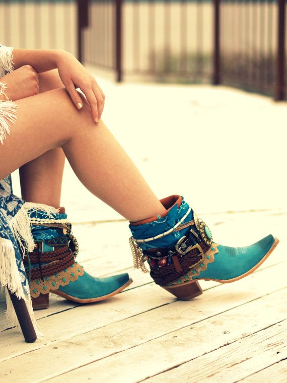 NEW Upcycled boots REWORKED Harley Davidson aqua by TheLookFactory
