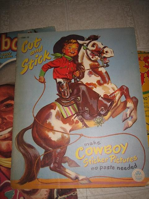 Vintage Cowboy coloring and sticker book