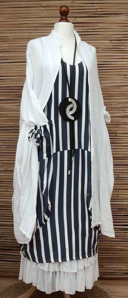 OBSESSION. LAGENLOOK 2 PCS STRIPED BOHO LONG DRESS+LONG LINEN/COTTON JACKET*WHITE/NAVY*L-XL