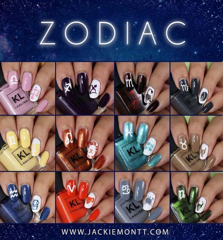 Kl Polish Zodiac Collection Swatches And Review Zodiac Sign Nail Art Nail Art Zodiac Signs Zodiac Nail Designs Black Nail Art