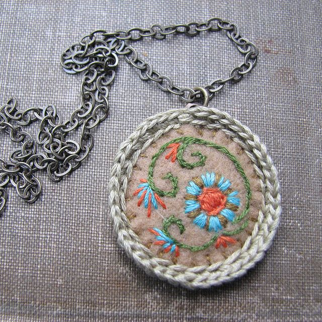 Embroidered Necklace Turquoise Flowers Tan Felt Crochet Edging, via Flickr.