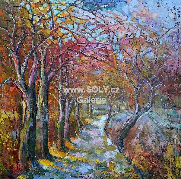 Originál obraz českého malíře Jaro, předjaří, olej na plátně, 100 x 100cm, cena 28 000 Kč. Krajina v předjaří, jaro, stromořadí, stromy.