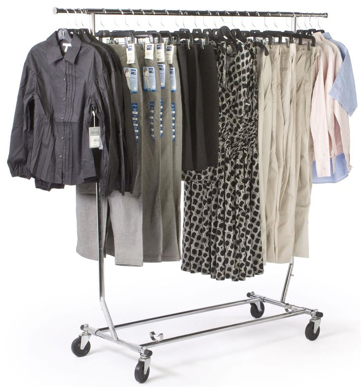51-1/4 x 55 x 22-1/2-Inch, Tube Steel Rolling Clothes Rack, Adjustable And Collapsible With Industrial Caster Wheels