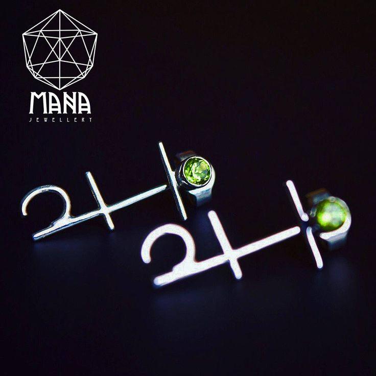 Anahata Chakra sterling silver Olivine gem stone boho earrings by MANAByGekova on Etsy