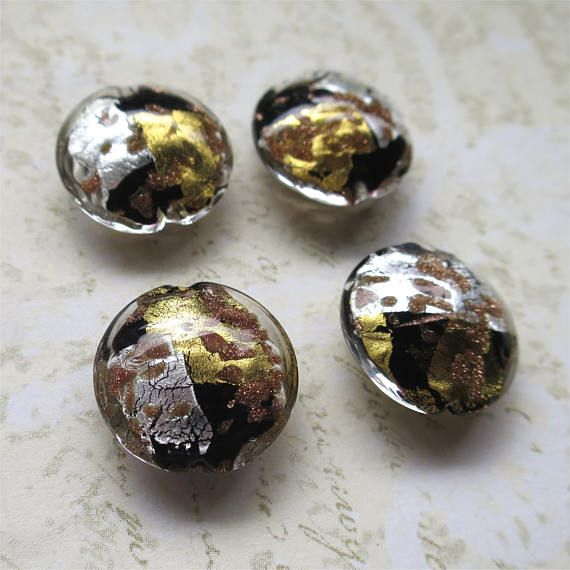 Venetian glass beads silver gold and black lentil