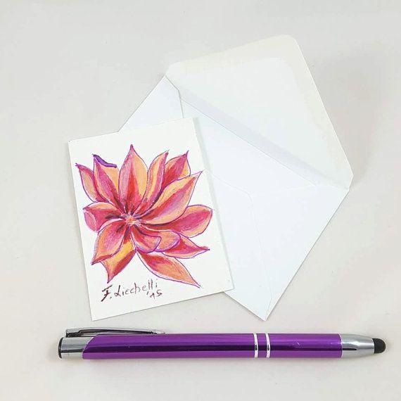 Guarda questo articolo nel mio negozio Etsy https://www.etsy.com/it/listing/465321252/fiore-rosaaceo-originaleooakbiglietto
