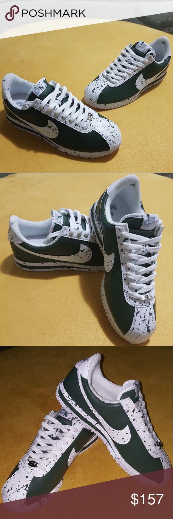 Custom Nike Cortez Splatter Olive Size 8.5 Mens Nike Shoes Sneakers
