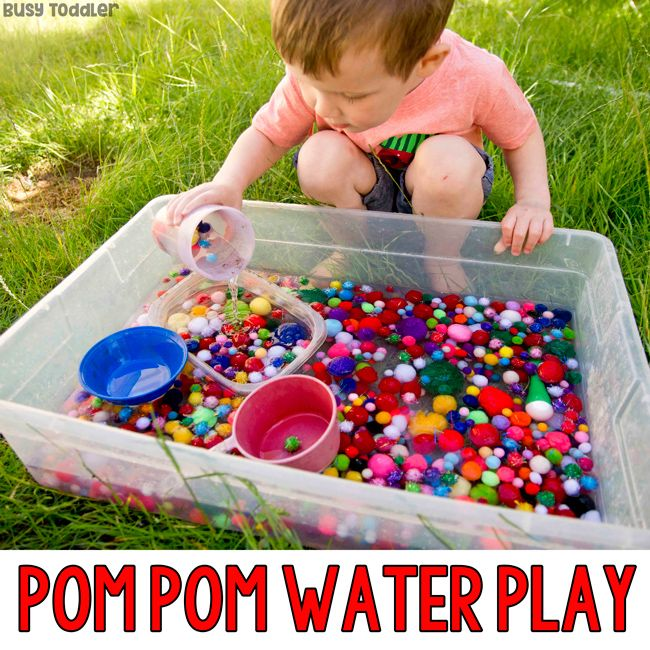 Pom Pom Water Play Outdoor Sensory Bin