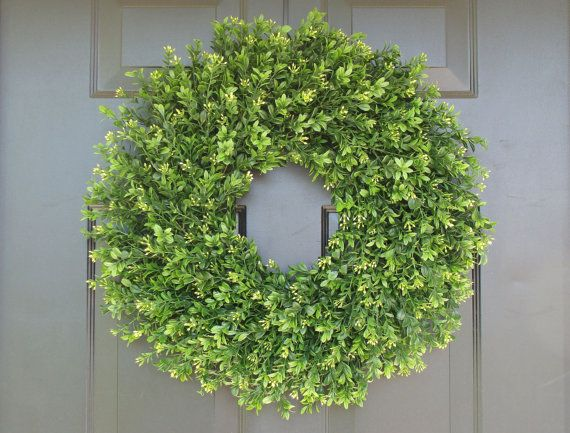 Faux Thin Artificial Boxwood Wreath Storm Door Wreaths