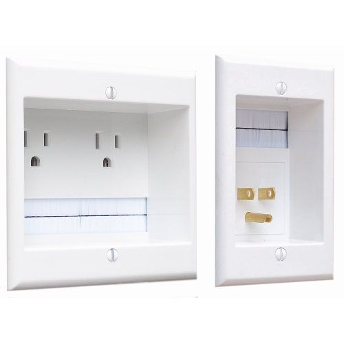 PowerBridge TWO-CK Dual Outlet Recessed In-Wall Cable Management System with PowerConnect for Wall-Mounted Flat Screen LED, LCD, and Plasma TV