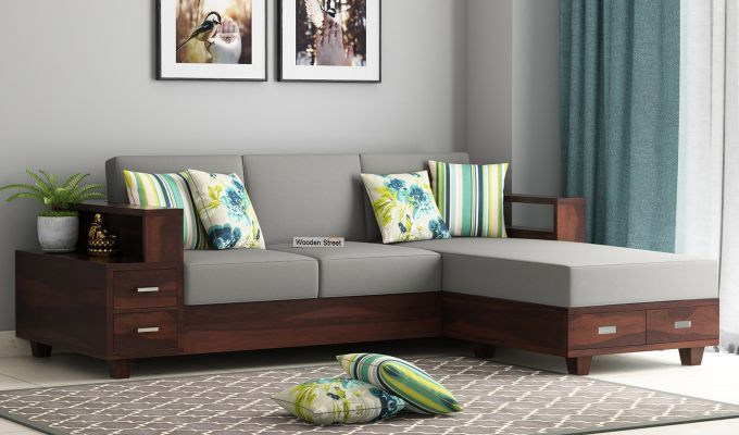 Buy Solace L Shaped Wooden Sofa Walnut Finish Online In India Wooden Street In 2020 Wooden Sofa Designs Corner Sofa Design Wooden Sofa Set