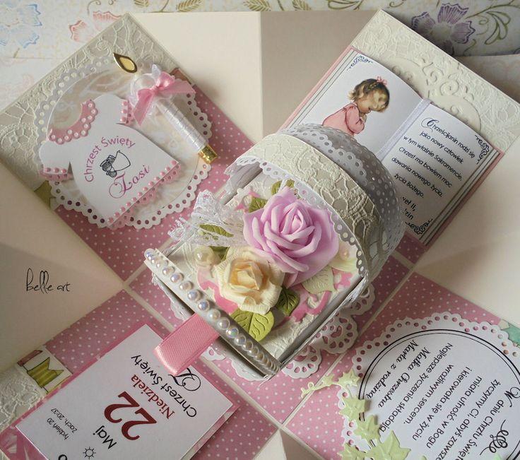 Chrzest, foamiran, flower, rose petal, christening card, exploding box, kartka chrzest, wózek z papieru