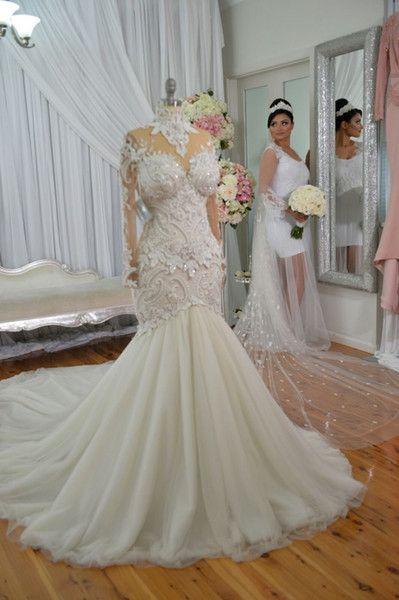 venta al por mayor vestidos de novia de sirena de cuello alto de