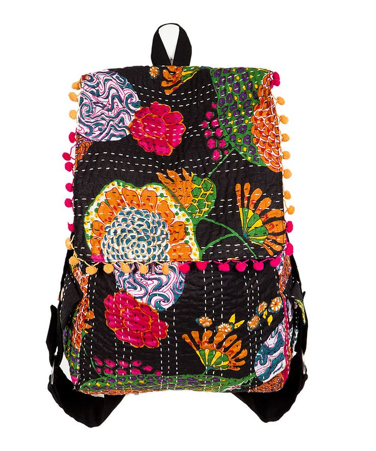 Sustainably chic, this backpack was handcrafted in India from upcycled cotton fabric boasting beautiful and bright Kantha embroidery, meaning it's a one-of-a-kind find that makes a big statement despite its low carbon footprint. Note: Due to upcycling, each backpack is unique and varies in print, design and color