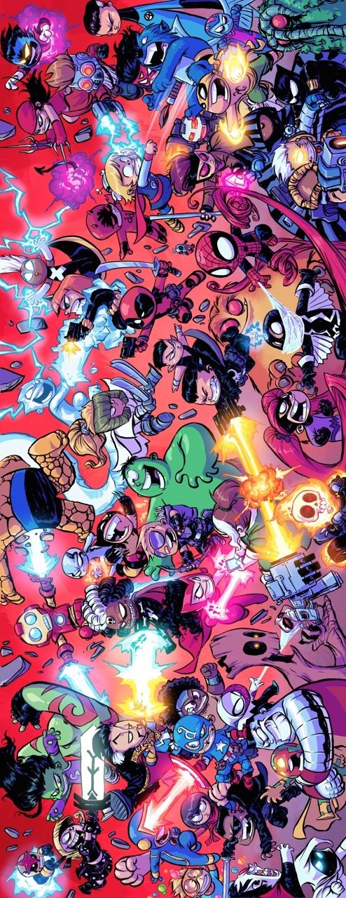 Giant-Size Little Marvel AvX #4 - quadruple page spread by Skottie Young *