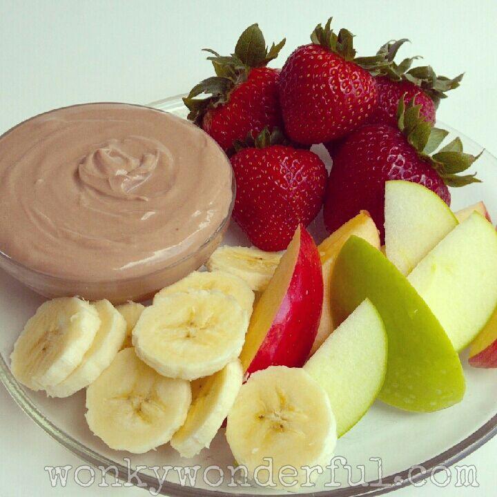Creamy #Nutella Fruit Dip - healthy fruit dip ~ WonkyWonderful.com