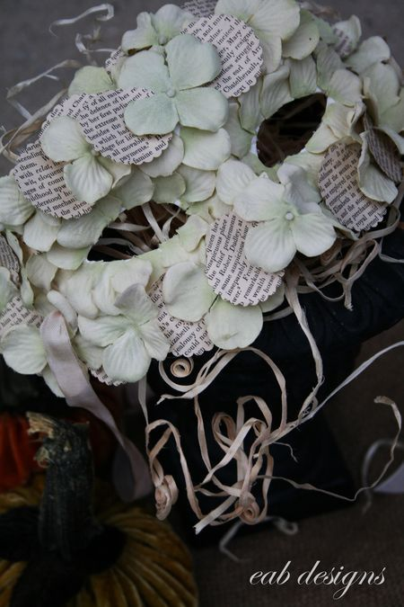 Decorated paper-mache masks... scallop circles for a vintage book  & silk hydrangea blooms - EAB Designs