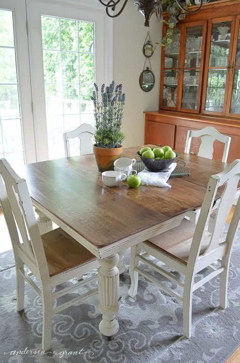 Antique Dining Table  and Chairs refurbished with chalk paint