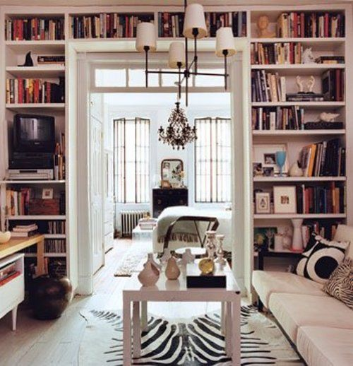 floor to ceiling organization and bookcase around an entryway