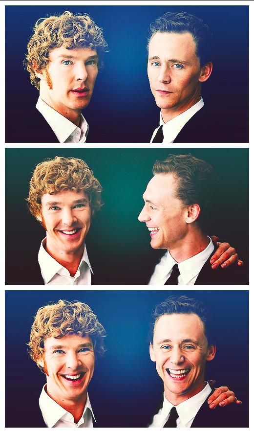 Benedict Cumberbatch and Tom Hiddleston. Love!!! But what's up with B's hair??