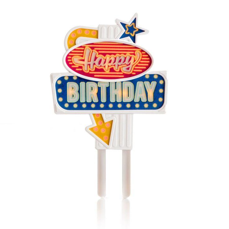 Flashing Neon Sign Birthday Cake Topper in Birthday Gifts by SuckUK