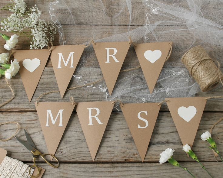 Personalised DIY Wedding bunting kit. Perfect for a rustic wedding or any other celebration.