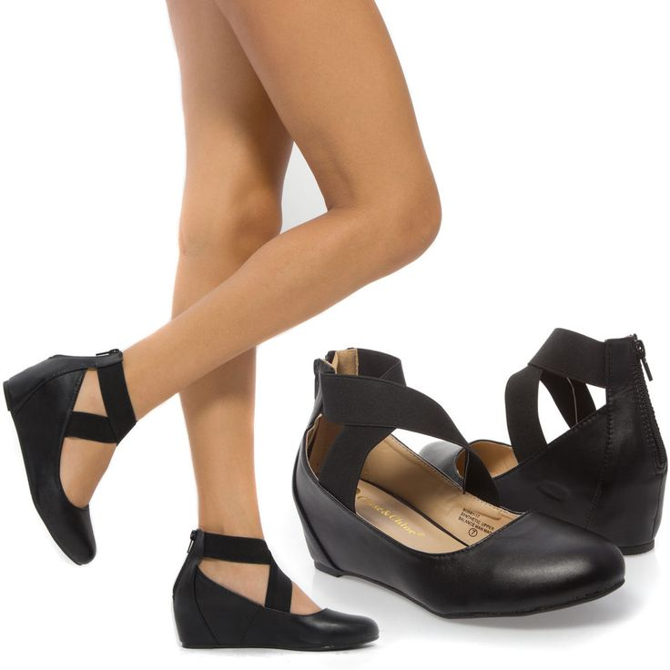 Women Black X Strap Med Low Hidden Wedge Heel Ballerina Ballet Flat Pump US 8 #ChaseChloe #PlatformsWedges