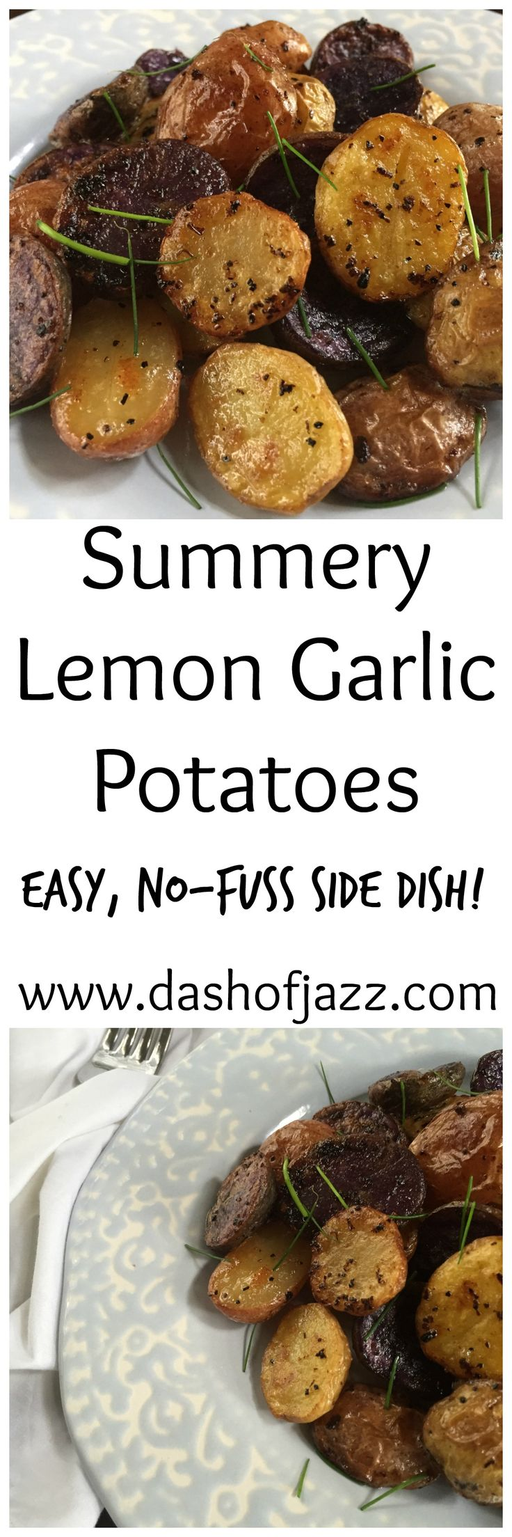 Summery lemon garlic potatoes are a bright and delicious, no-fuss side dish perfect for summer or anytime! by Dash of Jazz