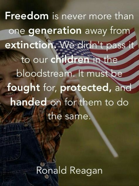 """""""Freedom is never more than one generation away from extinction..."""" - Ronald Reagan"""