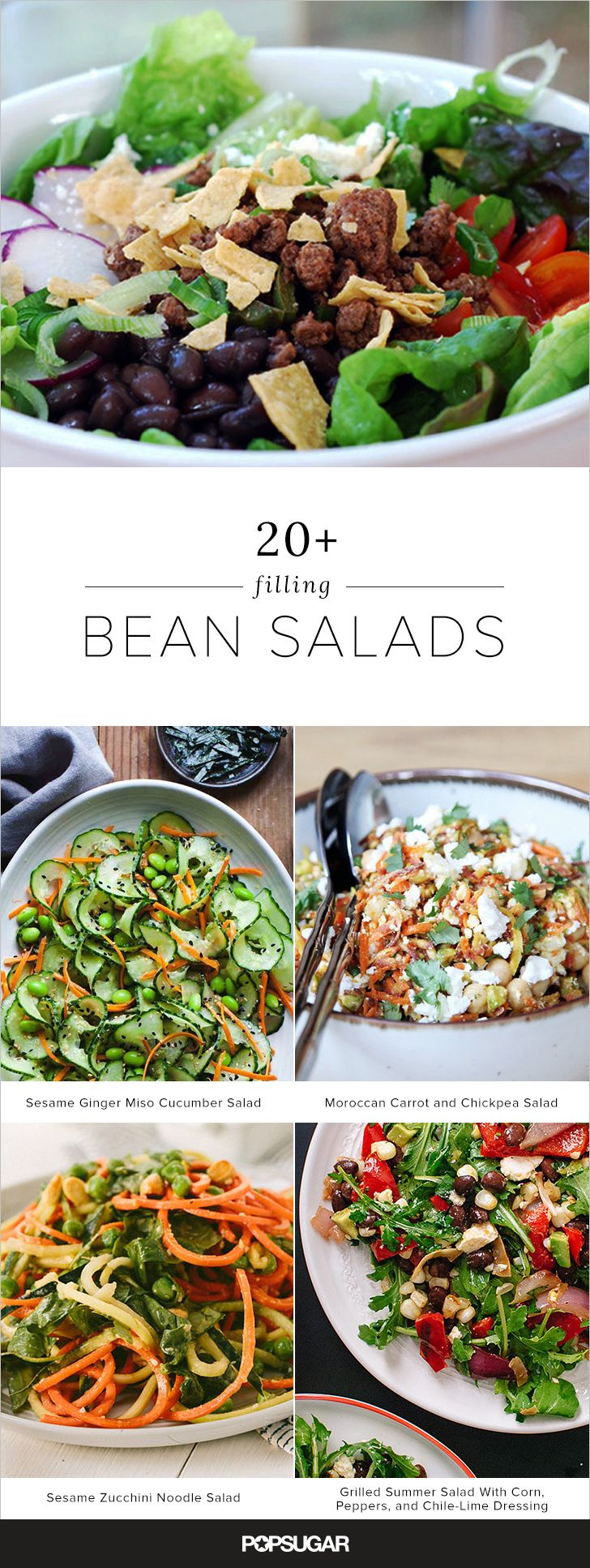 Beans and legumes like chickpeas, edamame, and lentils are one of our favorite salad ingredients; not only are they tasty, but they also work wonders when it comes to keeping us full until the next meal. Plus, many bean-based salads are good as leftovers (hello, killer brown-bag lunch). Here are more than 20 excellent options.