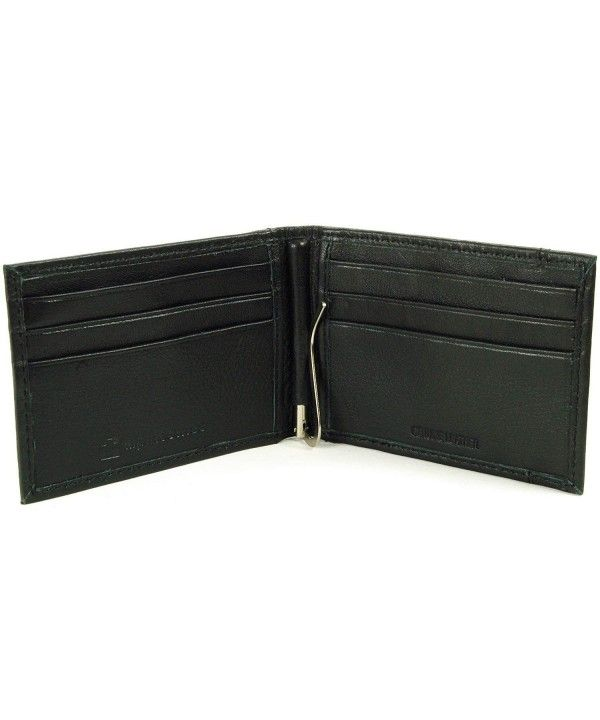 570955e1ba Mens Genuine Leather Spring Loaded Bifold Money Clip Wallet - Black ...