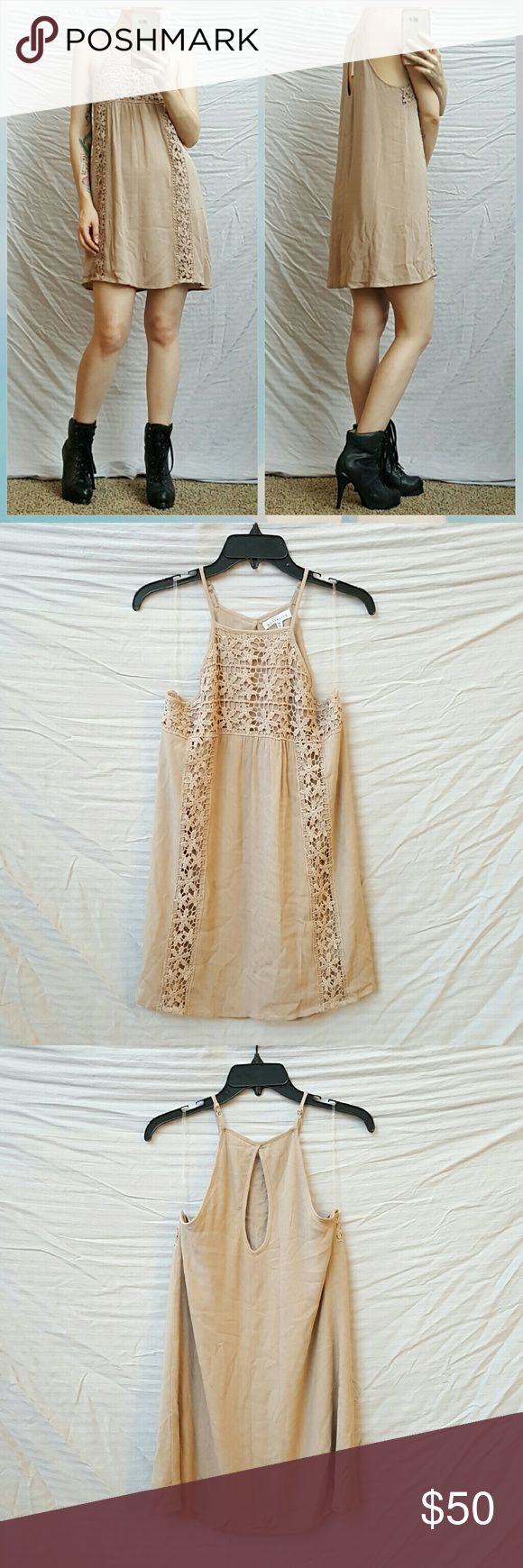 Socialite Crochet Cami Dress NWT!  Crocheted  accents and keyhole back on a nude, beige, tan, taupe dress.  So comfortable and cute!  Can be very versatile. Socialite Dresses