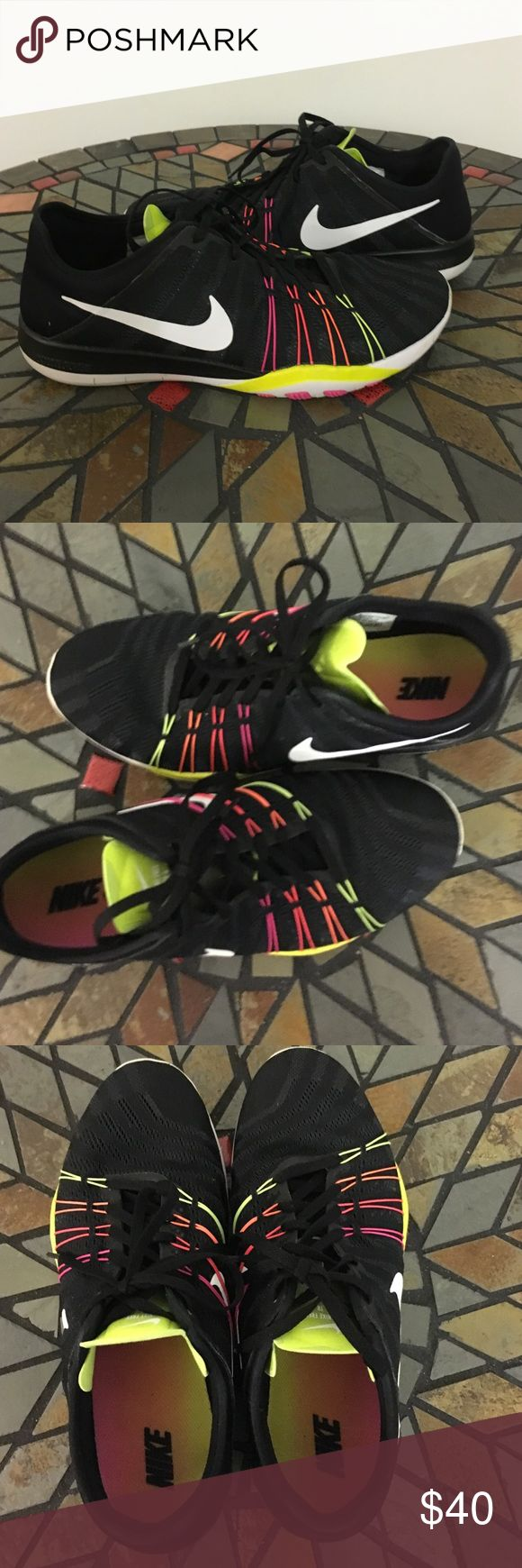 Nike free tr 6 black rainbow sneaker like new! Super comfy & sleek these make running look easy! Tagged size 9.5 but can also fit a 10 depending on your socks. Worn once but look new don't miss out! Nike Shoes Athletic Shoes