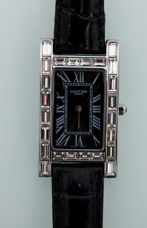 Часы Cartier с кристаллами и крокодиловым кожаным ремешком