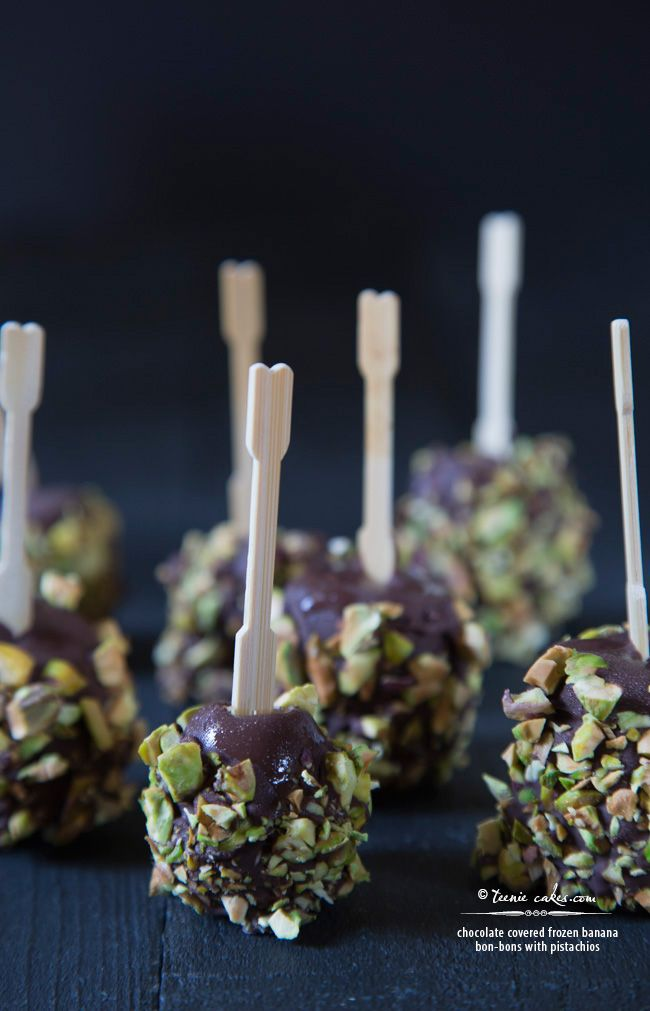 Chocolate covered frozen Banana Bon-Bons with Pistachios | Recipe ...