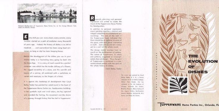 Tupperware Brochure Lot/2 Evolution of Dishes Welcome 1958 Vintage Orlando FL
