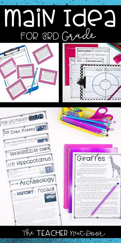 3rd Grade Main Idea Print and Digital for Google Classroom ...