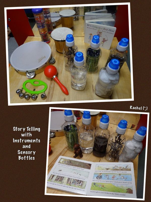 "Retelling the story, 'We're Going on a Bear Hunt' with instruments and sensory bottles - from Rachel ("",)"
