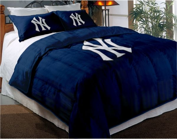 ny yankees new york yankees mlb twin chenille embroidered comforter set with 2 - New York Yankees Bedroom Decor