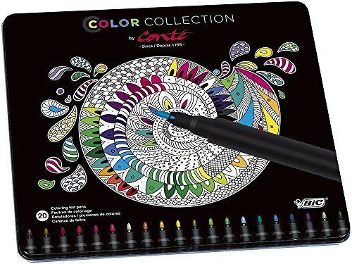 Conte Felt Pen Edition Limitée Pack de 20 Feutres de Coloriage Couleurs Vives: Corps en plastique noir Pointe fine bloquée 20 couleurs…