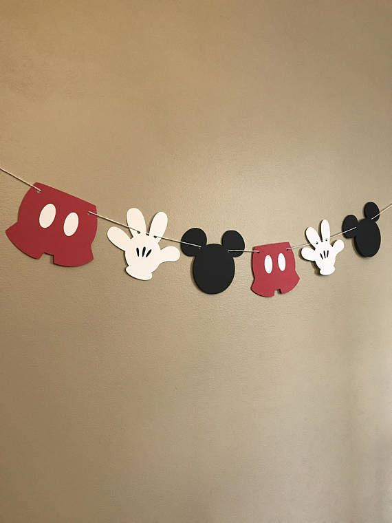This Mickey Mouse accessory banner can be the perfect addition to any birthday party decor, cake smash photo shoot session, high chair birthday decor, baby shower or baby nursery decor! Size is approximately 5x 4 for each item and has 6 pieces (2 black Mickey Mouse heads, 2 white gloves, 2 red
