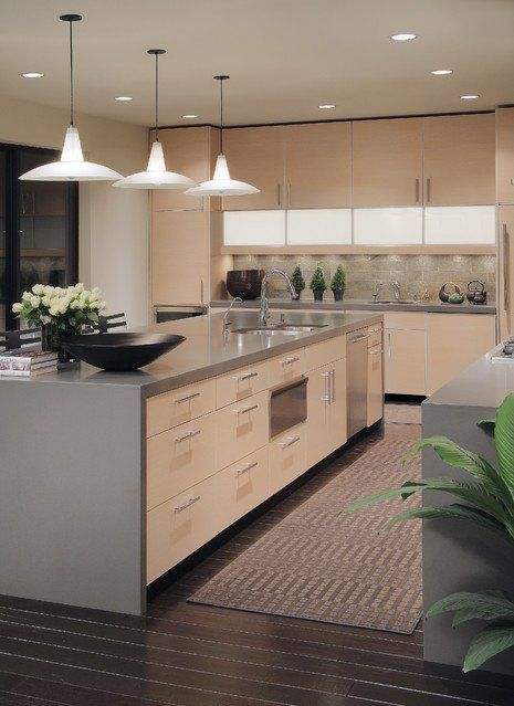 Contemporary Kitchen : Countertops, Quartz, Light Wood Cabinets, Frosted Glass Doors, Architect, Black
